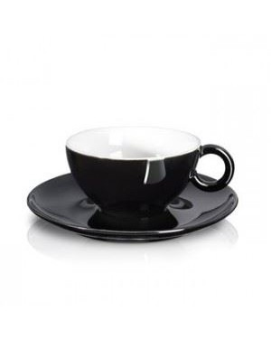 Tasse et soucoupe en porcelaine noire - Asa