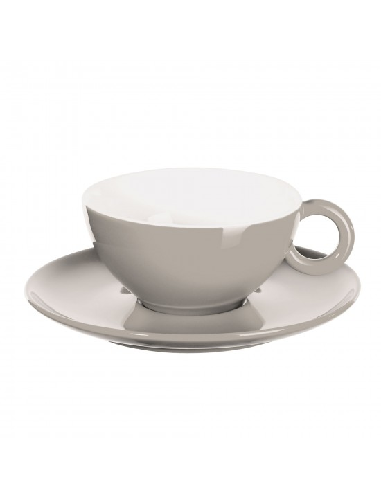Tasse et soucoupe en porcelaine gris béton - Asa