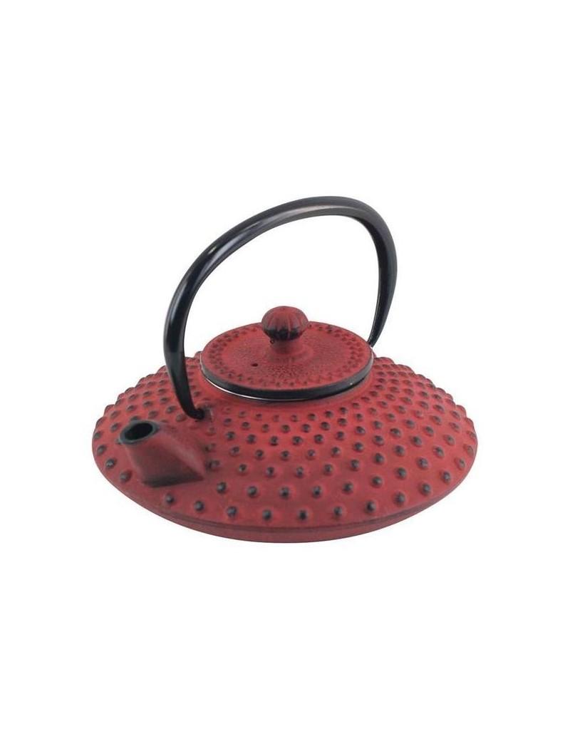 Théière en fonte plate picots rouge 0,5L