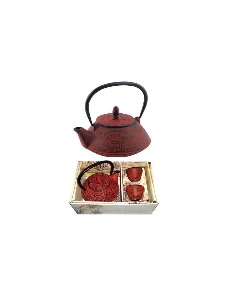 Théière en fonte + 2 tasses rouge 0,8L