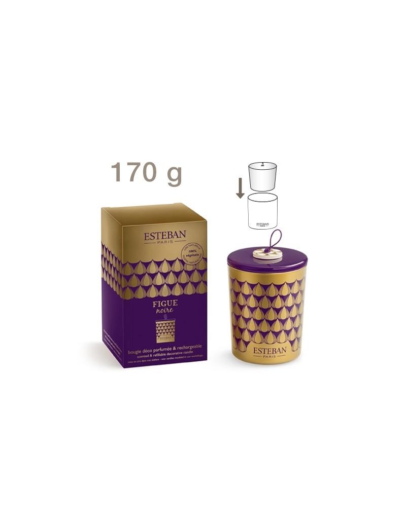 Bougie déco parfumée rechargeable Figue noire - Esteban