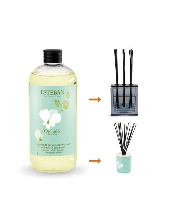 Recharge pour bouquet parfumé 500ml Orchidée blanche - Esteban
