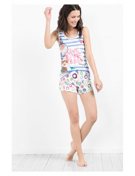 Tee-shirt bretelles Blue summer Taille S/M - Desigual
