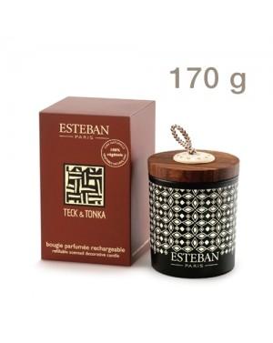 Bougie déco parfumée rechargeable Teck  et  Tonka - Esteban