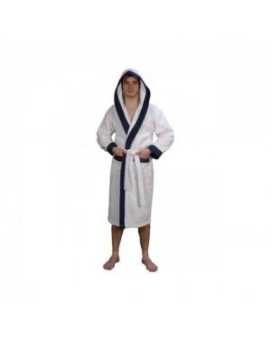 Peignoir à capuche bicolore blanc/bleu Taille L - Sensei
