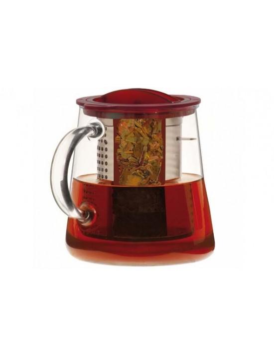 Théière en verre avec filtre inox rouge - Finum