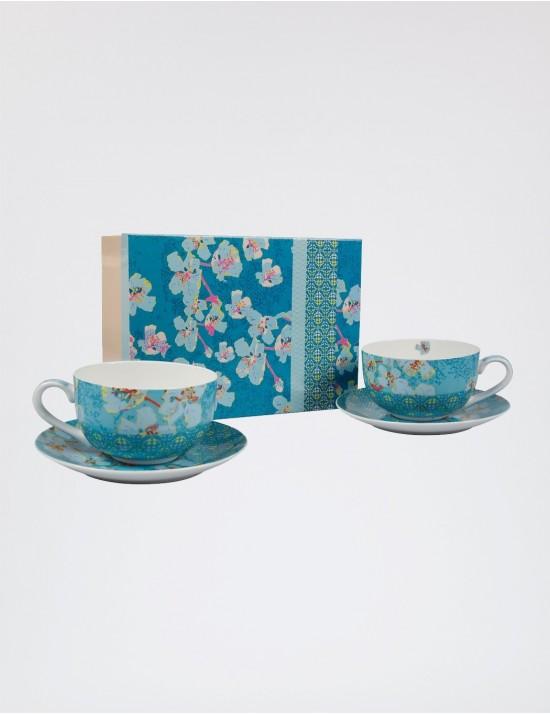 Coffret 2 tasses à thé + sous tasses en porcelaine La fiancée du Mékong