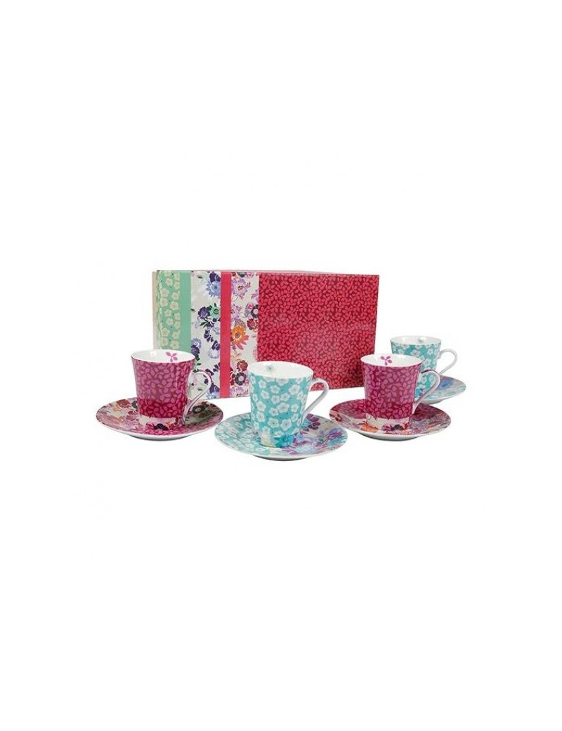 Coffret 4 tasses à café + sous tasse en porcelaine Melow