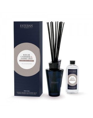 Bouquet parfumé et sa recharge Bois de cashmere  et  Ambre gris - Esteban