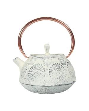 Théière en fonte Lotus anse cuivrée 1L blanc