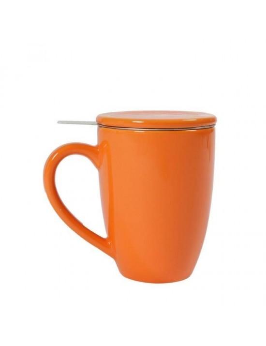 Mug en céramique + filtre et couvercle orange