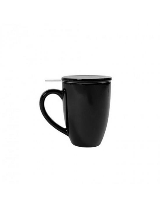Mug en céramique + filtre et couvercle noir