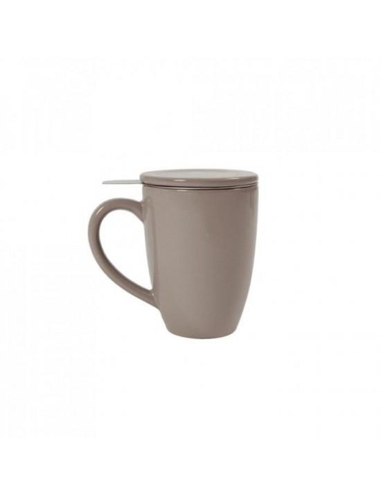 Mug en céramique + filtre et couvercle gris taupe
