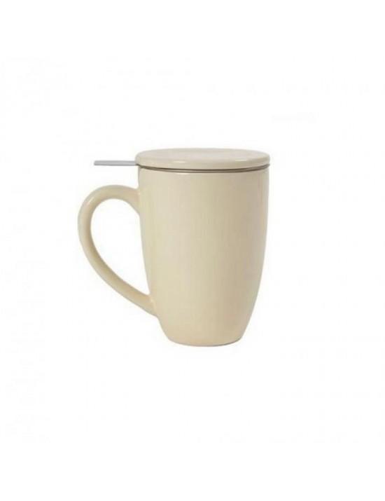 Mug en céramique + filtre et couvercle crème