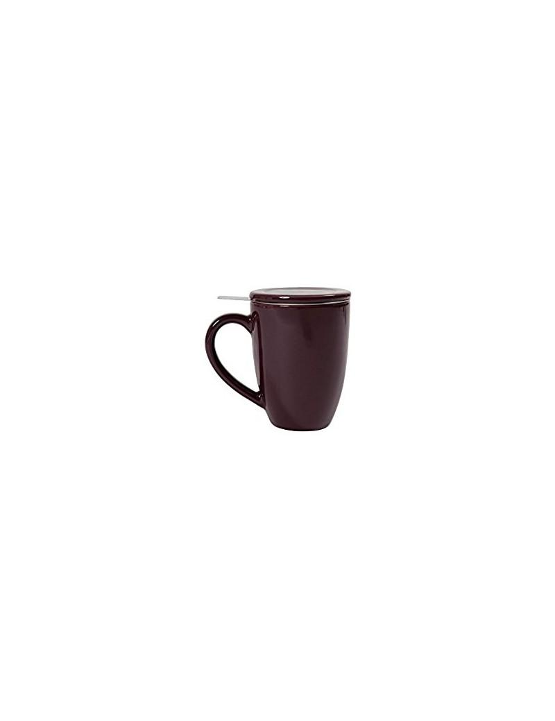 Mug en céramique + filtre et couvercle prune
