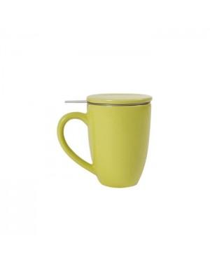 Mug en céramique + filtre et couvercle vert anis