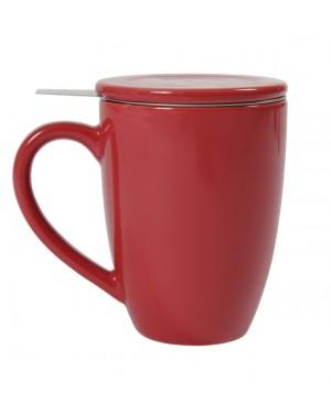 Mug en céramique + filtre et couvercle rouge