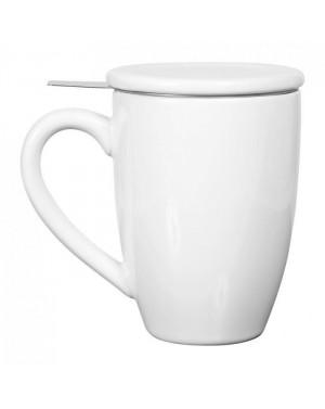 Mug en céramique + filtre inox et couvercle blanc
