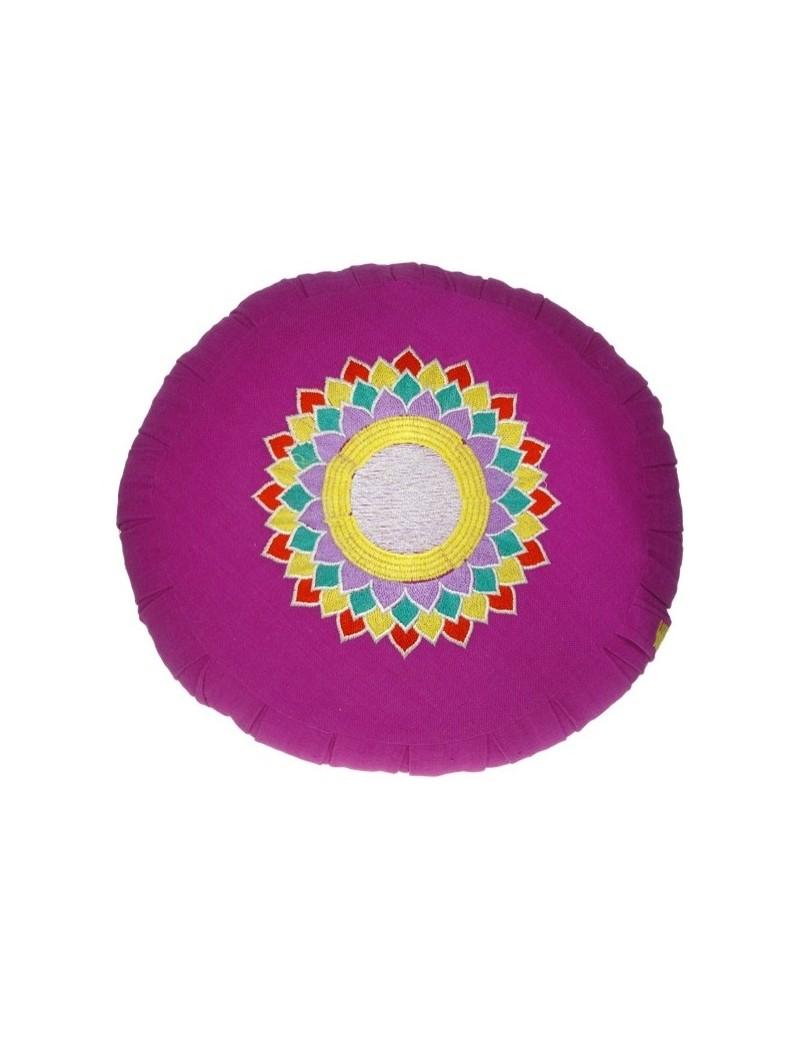 Coussin de méditation Zafu fushia - Chakra Sahasrara
