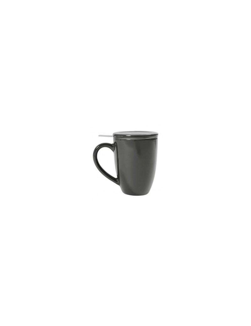 Mug en céramique + filtre et couvercle gris eiffel