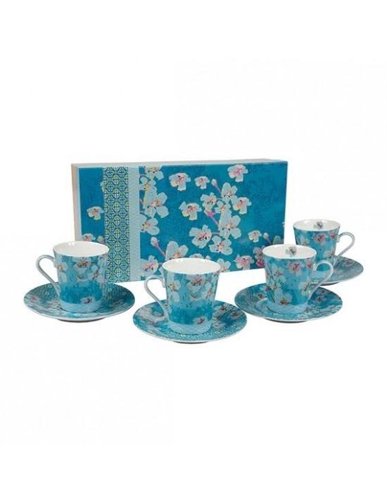 Coffret 4 tasses à café + sous tasses en porcelaine La fiancée du Mékong