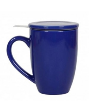 Mug en céramique + filtre et couvercle bleu
