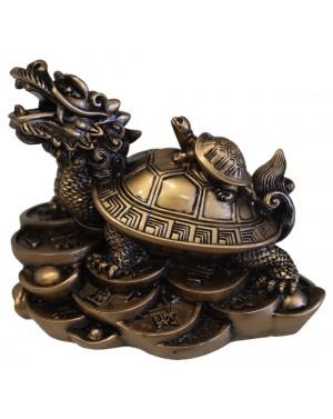 Dragon tortue en résine dorée 9cm