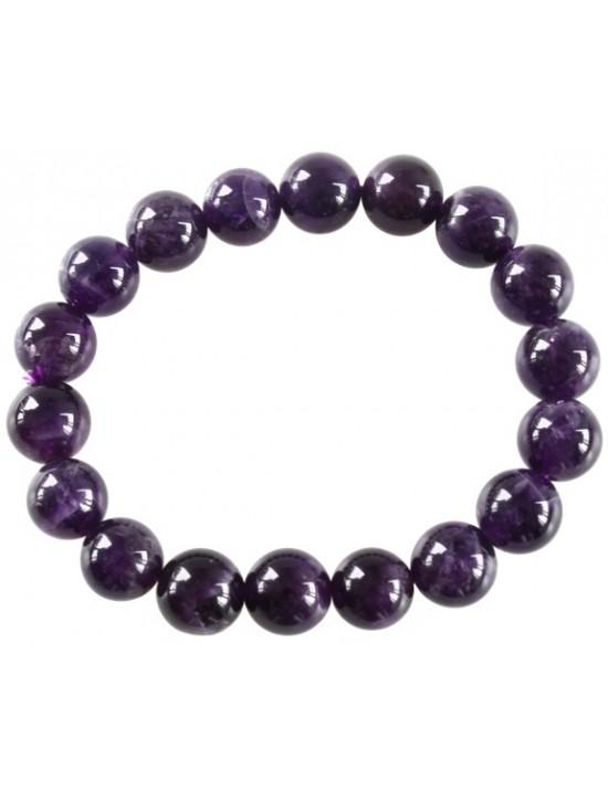 Bracelet perles rondes Améthyste