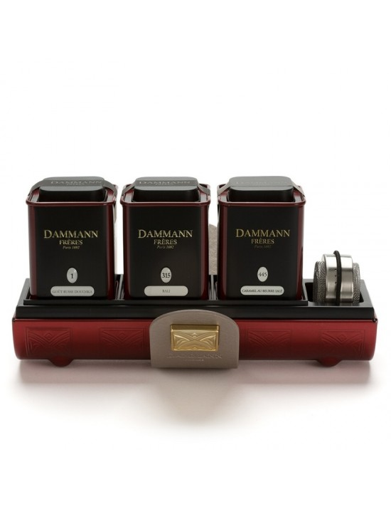 Coffret Amarante : 3 boites de thé + infuseur - Dammann frères