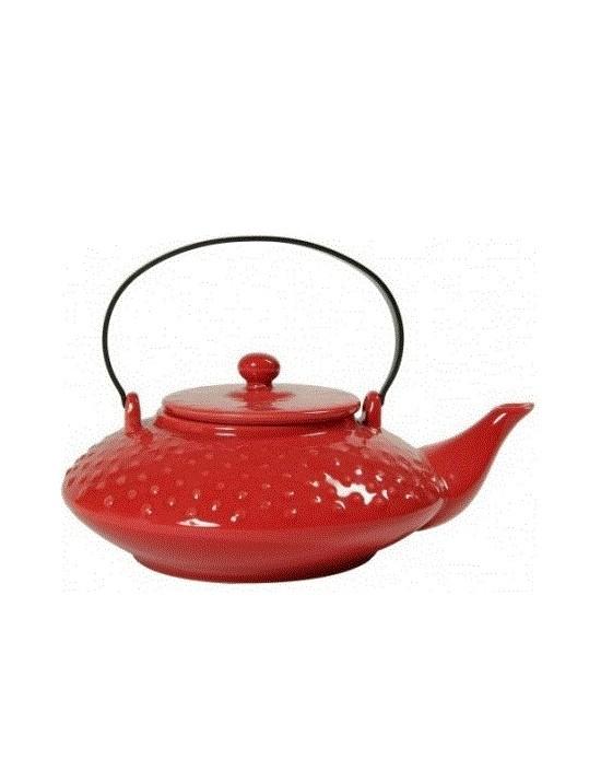 Théière picots en céramique 0,65L rouge
