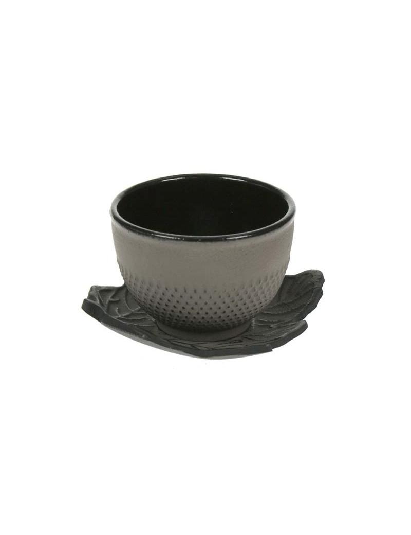 Tasse et sous tasse en fonte picot gris