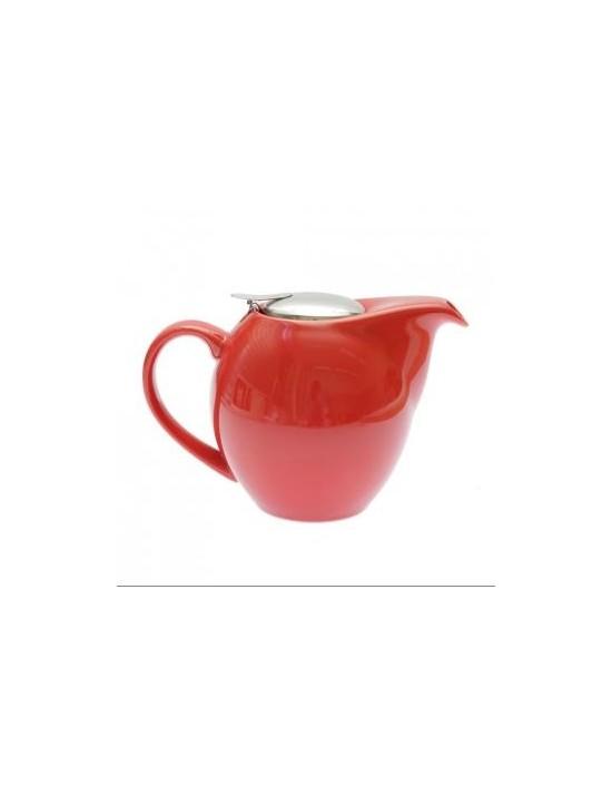 Théière boule en cérmique rouge 1,5L