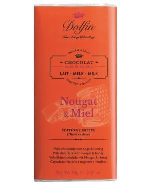 Tablette de chocolat au lait nougat  et  miel - Dolfin