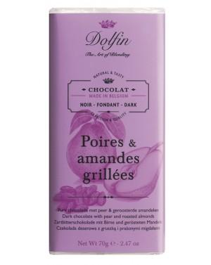 Tablette de chocolat noir 60pourcent  et  poires et amandes grillées - Dolfin