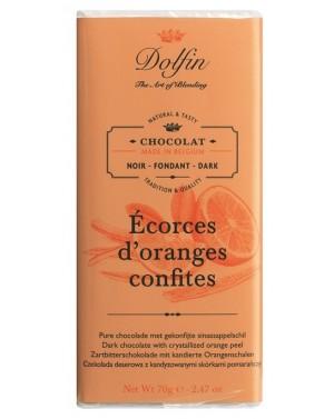 Tablette de chocolat noir 60pourcent  et  écorces d'oranges confites - Dolfin