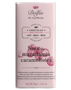 Tablette de chocolat au lait  et  noix de macadamia caramélisées - Dolfin