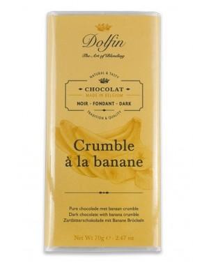Tablette de chocolat noir 60pourcent  et  crumble à la banane - Dolfin