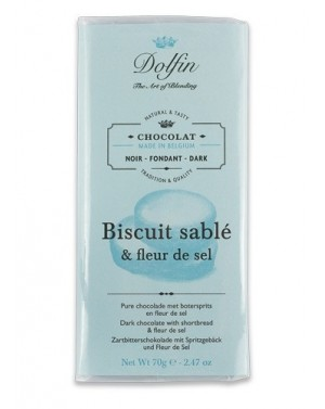 Tablette de chocolat noir 60pourcent  et  biscuit sablé et fleur de sel - Dolfin
