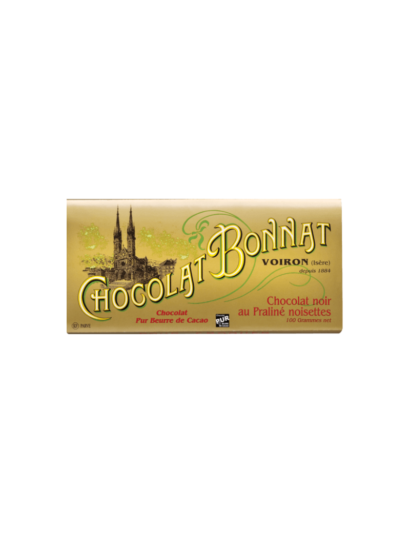 Tablette de chocolat noir au Praliné noisettes - Bonnat