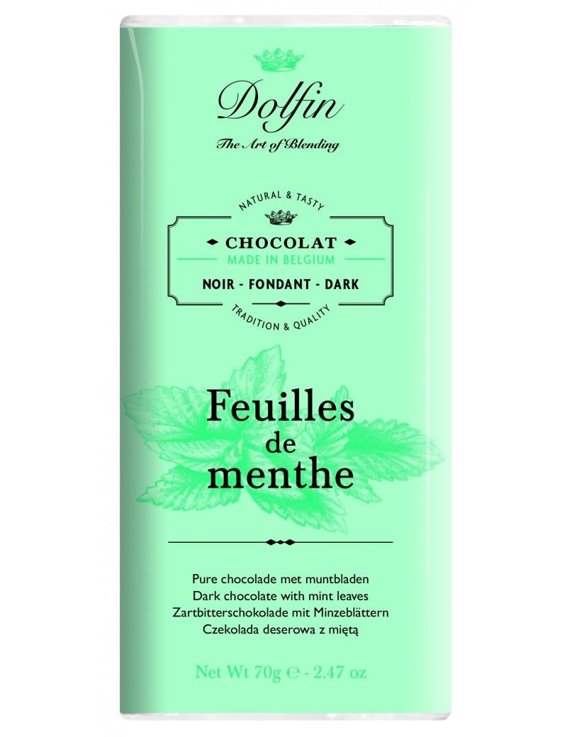 Tablette de chocolat noir 60pourcent  et  feuilles de menthe - Dolfin