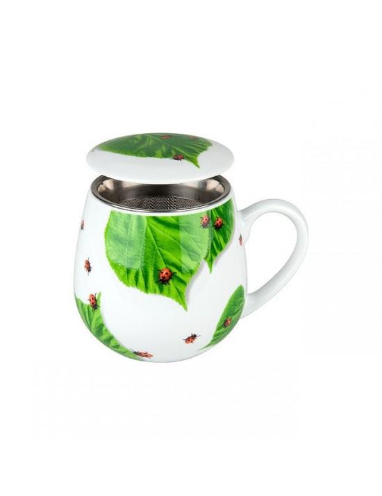 Mug Snuggle avec filtre et couvercle Coccinelle sur feuille - Konitz