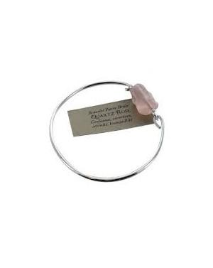 Bracelet en argent pierre brutre Quartz rose
