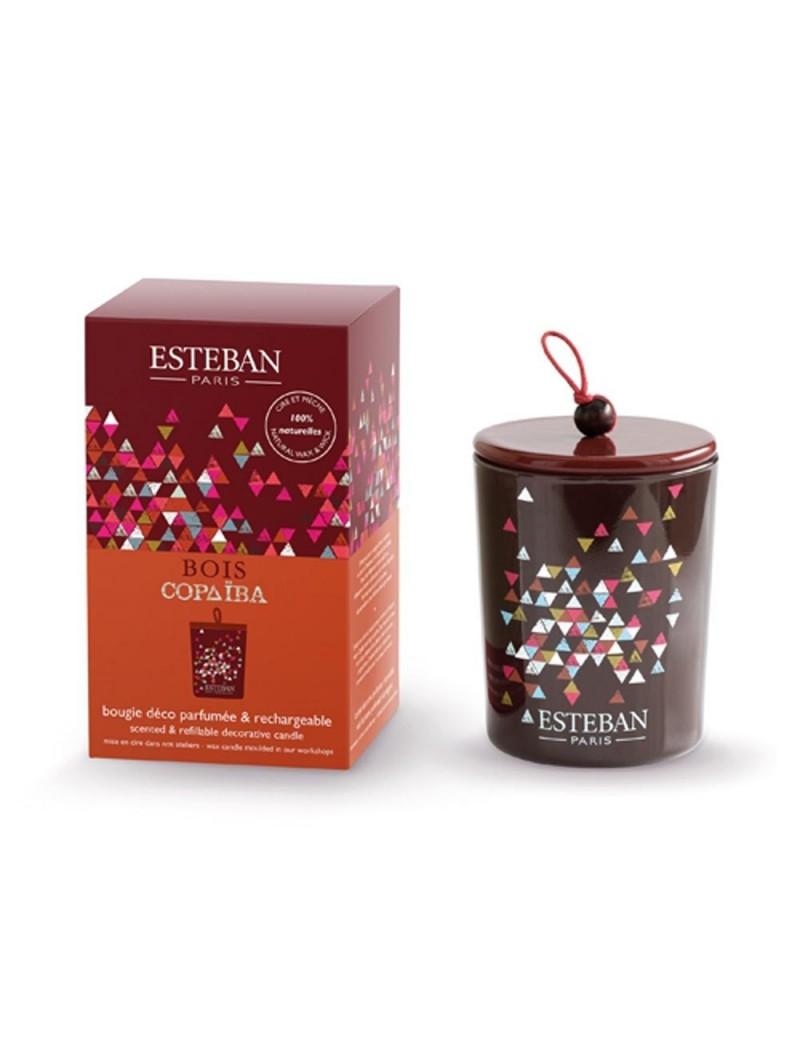 Bougie déco parfumée rechargeable Bois Copaiba - Esteban