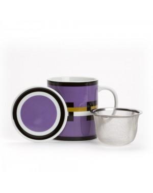Mug Graphik violet avec filtre et couvercle - Dammann frères