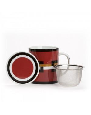 Mug Graphik rouge avec filtre et couvercle - Dammann frères