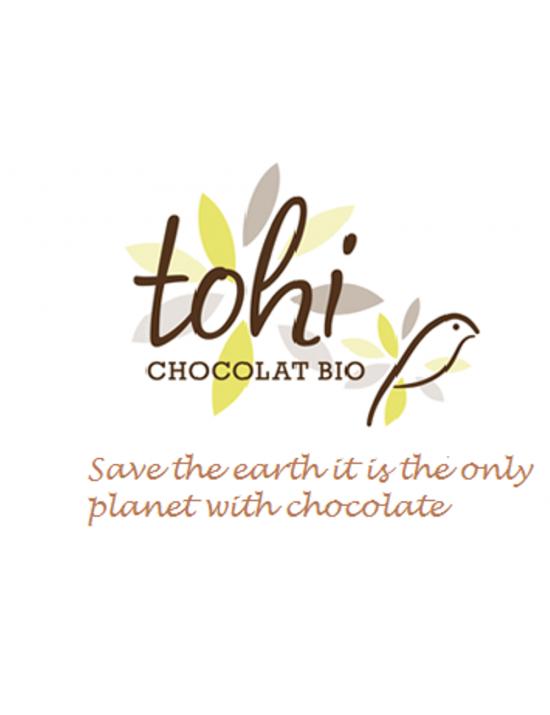 Tablette de chocolat bio noir 74pourcent de cacao à l'orange - Tohi