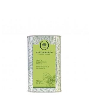 Huile d'Olive Basilic Frais Pressé 500 ml - Oliviers  et  co