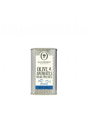 Huile d'olive  et  aromates frais pressés - Poisson - Oliviers a co